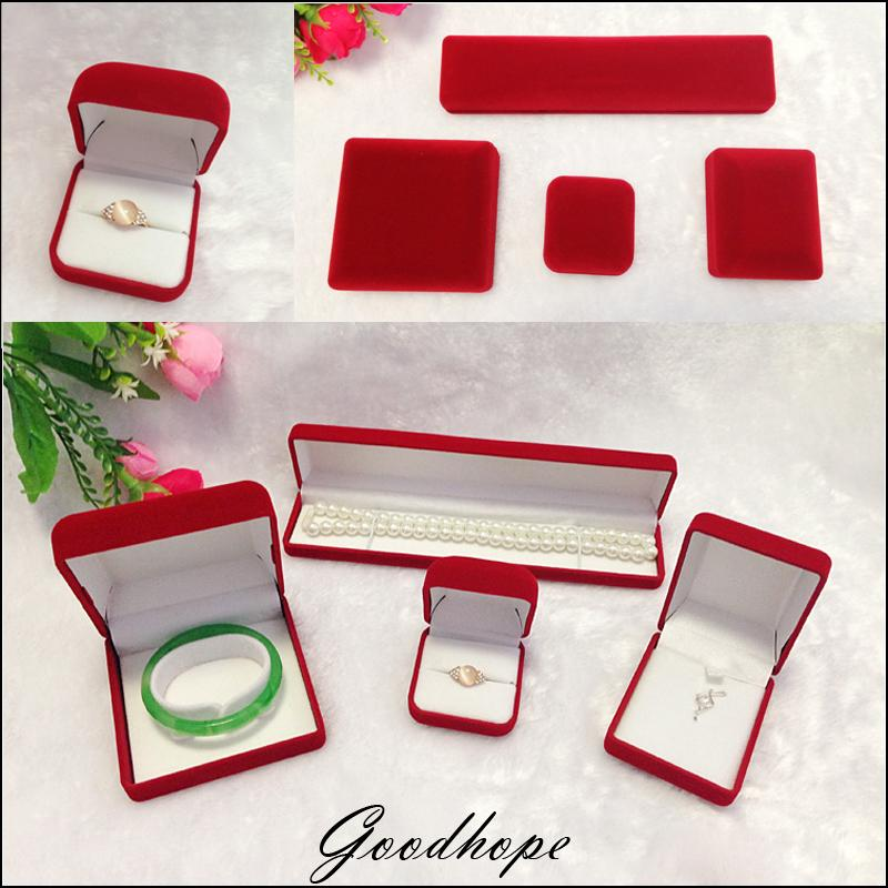 Red Velvet Jewellery Set Box Jewelry Packaging Boxes For Ring