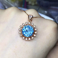 Haleigha Genunie 925 Sterling Silver Jewelry Flower Pendant Necklace Customized 10mm Round Blue Opal Necklace For
