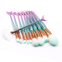 Hot 10pcs Set Makeup Brushes Sets Mermaid 3D Colorful Professional Make Up Brushes Foundation Blush Cosmetic