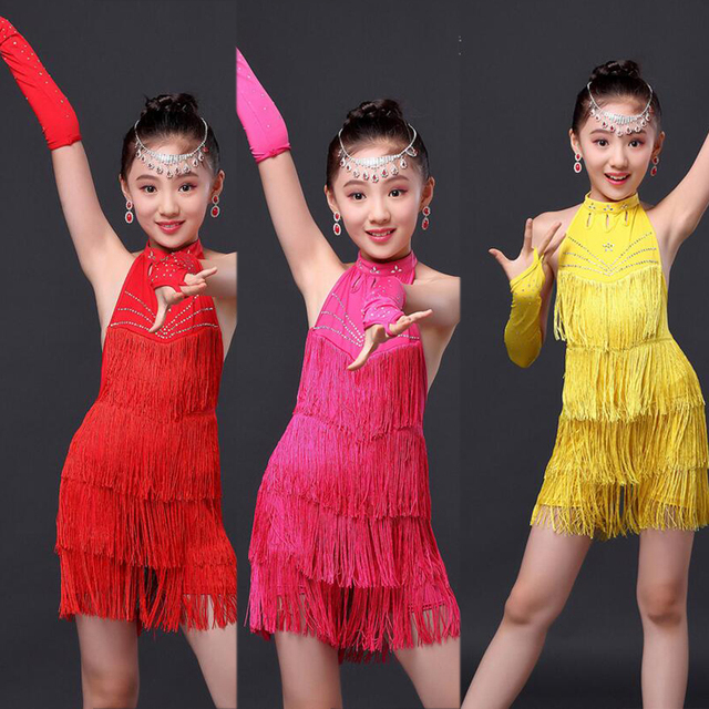 c978021a2 Girls Tassels Latin Dance Dress Childrens Fancy Dress Kids Ballroom ...