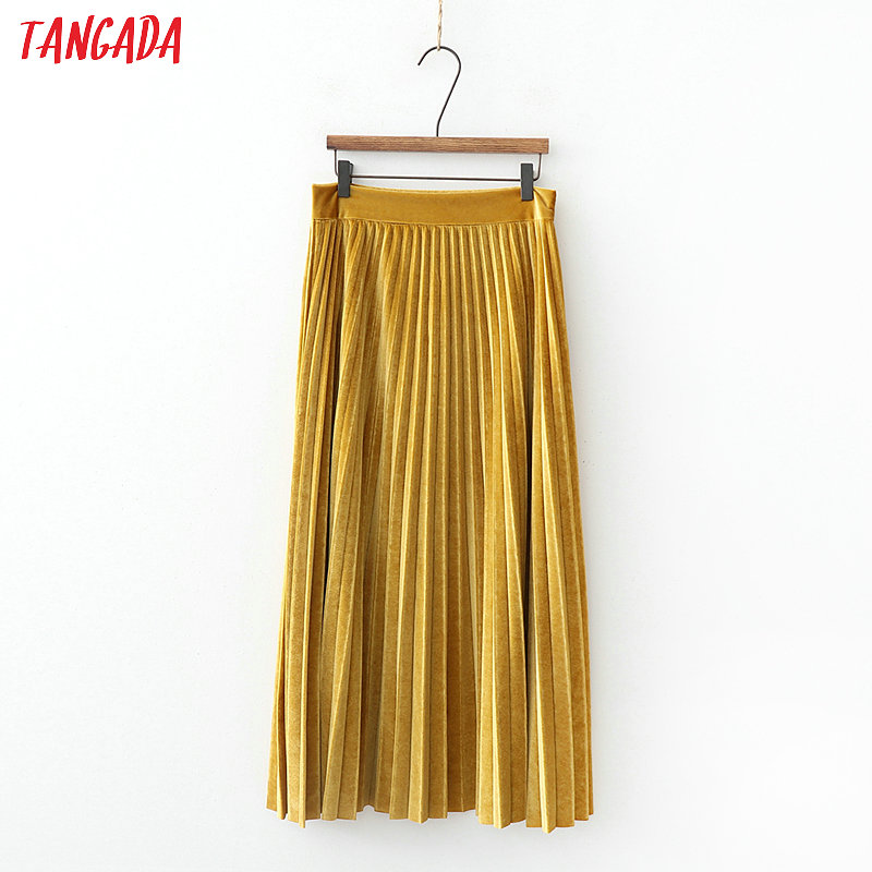 Tangada Women Yellow Velvet Pleated Midi Skirt Faldas Mujer Side Zipper Fly Yellow Female Casual Mid Calf Skirts XD535