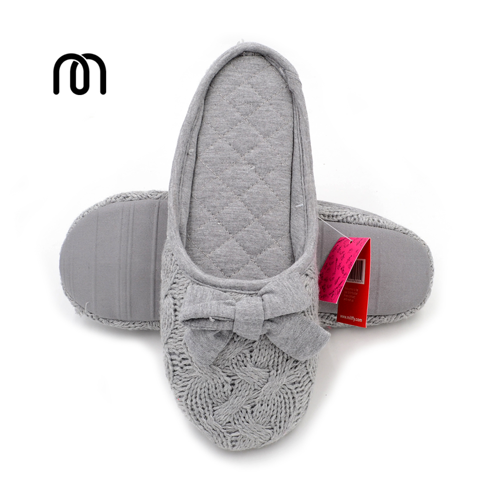 aliexpress com buy millffy knit bow slipper household 13874 | millffy knit bow slipper household slippers interior non slip bedroom women slippers floor flats