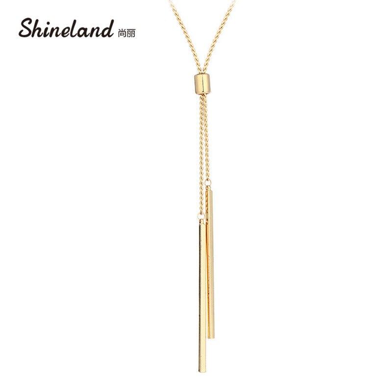 Shineland Для женщин аксессуары Горячая Мода Золото-цвет металла цепи Collier длинная полоса подвески подарки Леди Шарм ожерелья ювелирные изделия