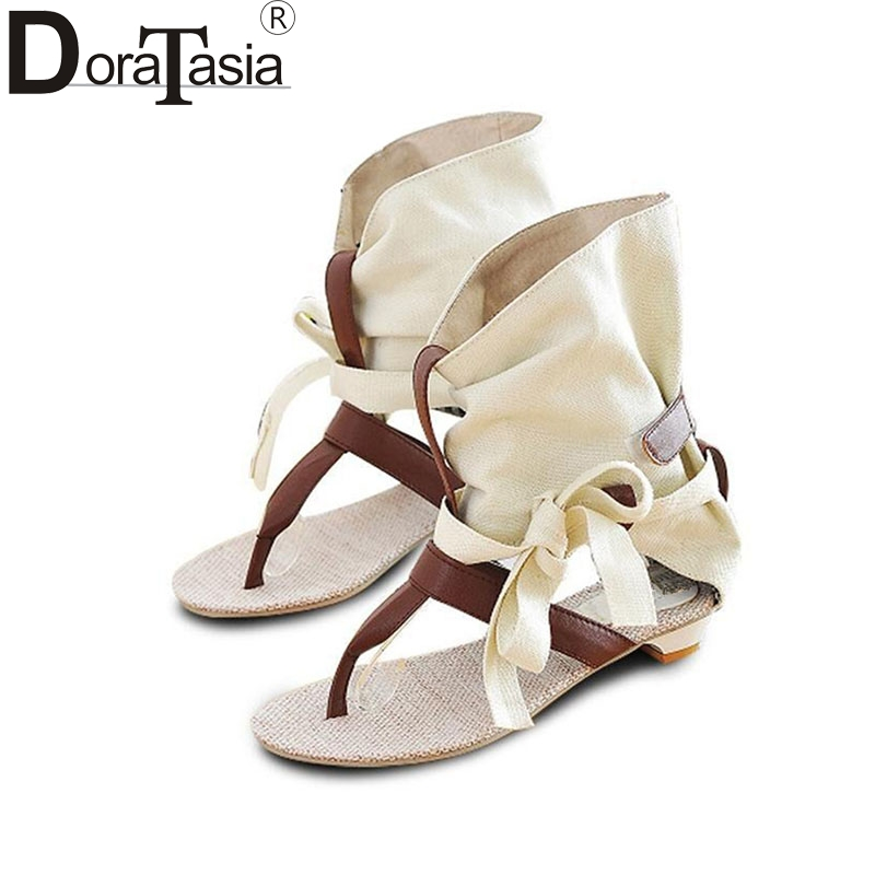 DoraTasia Big Size 34-43 Fashion Women Gladiator T-straps Flat Sandals Ladies Casual Flat Summer Shoes Brand New Sandals factory sell fashion gladiator t straps summer flats sweet bow shoes casual dress women sandals 4 colors eur size 34 39 ddm917