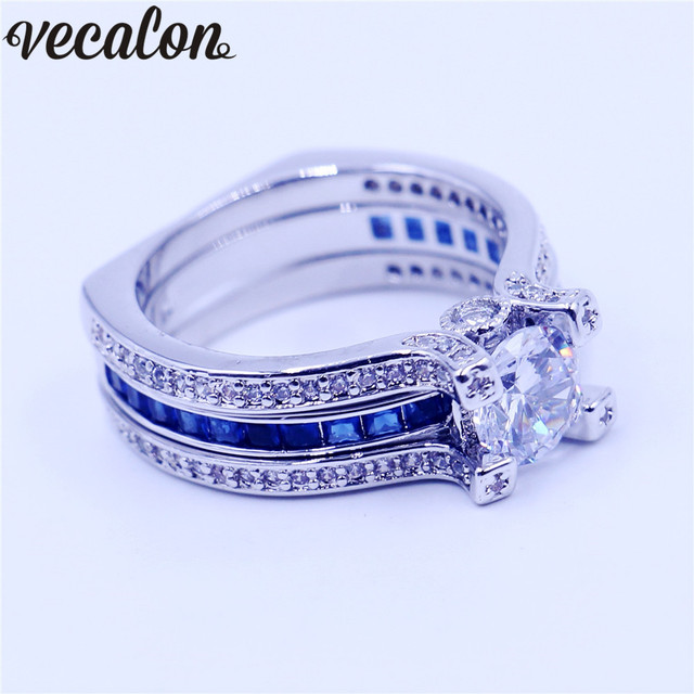 Vecalon Female Birthstone Jewelry Engagement Ring Blue Stone Aaaaa
