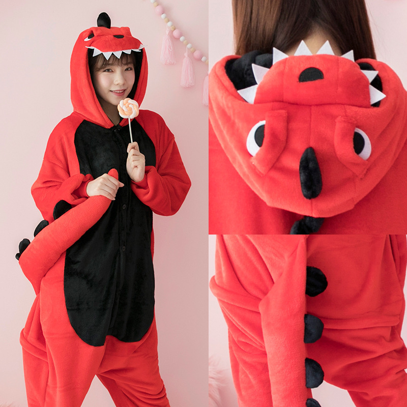 Flannel Kigurumi Dinosaur Onesies For Adults Spyro The Dragon Women Dinosaur Pajamas Overall Whole Onepiece Animal Pajamas