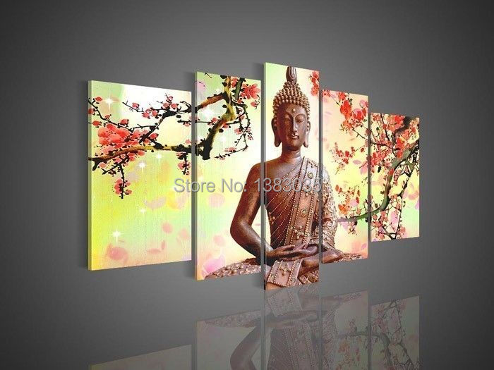 hand painted modern famous portrait drawings religion buddha painting 5 piece canvas art set. Black Bedroom Furniture Sets. Home Design Ideas
