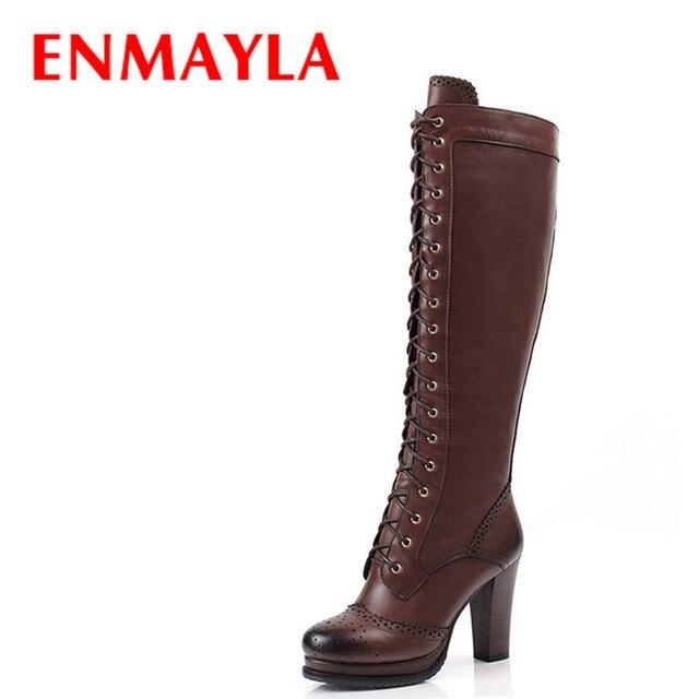 05f87575 € 49.18 48% de DESCUENTO|ENMAYLA Retro Brogue zapatos mujer PlatformThigh  botas altas de encaje hasta la rodilla botas de Caballero de tacón alto ...