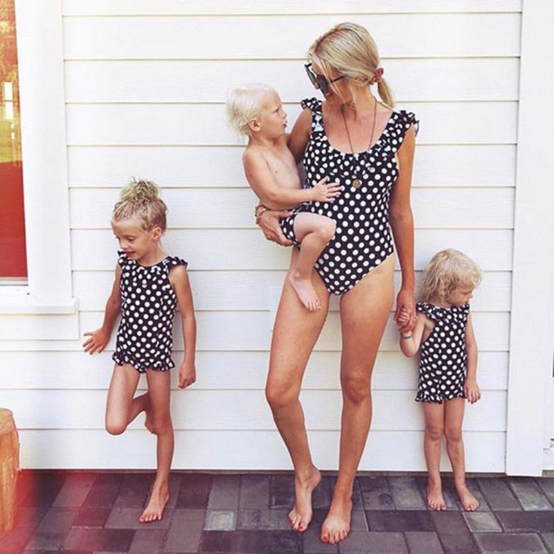 1PC Family Matching Summer Bikini Vintage Boho Polka Dot Printed Monokini Pleated Ruffles Patchwork Swimsuit Beachwear