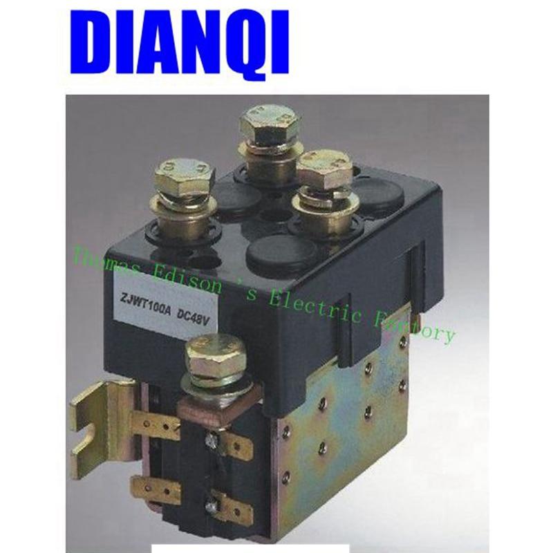 DC88 2NO+2NC 12V 24V 36V 48V 60V 72V  DC Contactor ZJWT100A for motor forklift handling drawing grab wehicle car winch lc1d series contactor lc1d09 lc1d09kd 100v lc1d09ld 200v lc1d09md 220v lc1d09nd 60v lc1d09pd 155v lc1d09qd 174v lc1d09zd 20v dc