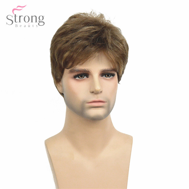 StrongBeauty Men Short Wig Light Brown mixed Synthetic Natural Full Wigs