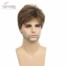 StrongBeauty mężczyźni peruka krótka jasnobrązowa mieszane syntetyczne naturalne pełne peruki