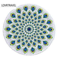 LOVRTRAVEL High Quality Thick Round Fringed Beach Towel for Abults Microfiber Towels Terry for Beach Yoga Fashion Printing