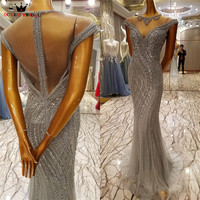 QUEEN BRIDAL Sexy Evening Dresses Mermaid Sparkle Sequins Beaded Luxury Long Prom Party Dress Bride Gowns Vestido De Festa BY32