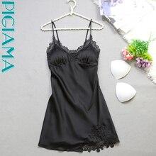 PIGIAMA Sexy Silk Nightgown Women Sleeveless Strap Nightwear Sleepwear Female Lounge Wear Night Dress Home Sleepshirt Nighty