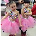 Дети девушки блестками костюмы джаз-модерн джаз костюм танец дефиле одежды дети пачка завеса