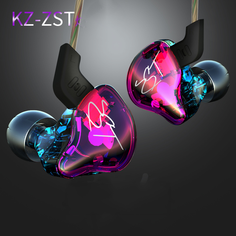 KZ ZST Colorful Earphone Professional Headphones High Quality Hifi Bass Monito Earphones With Microphone Earbud for phone kz zst hifi armature sport stereo earphones with microphone for runing phone earphone earpieces bass headset earbuds ear phones