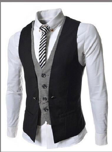 Mens Vest New Listing Fashion Brand False Two Design Waistcoat Male Blazer Vest Casual Slim Fit Suit Vests Men