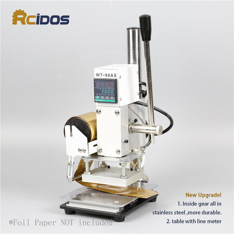 WT-90AS RCIDOS Stamping Machine,leather Bronzing/Creasing Machine,hot Foil Stamping Machine,110V/220V,with Foil Roll Holder