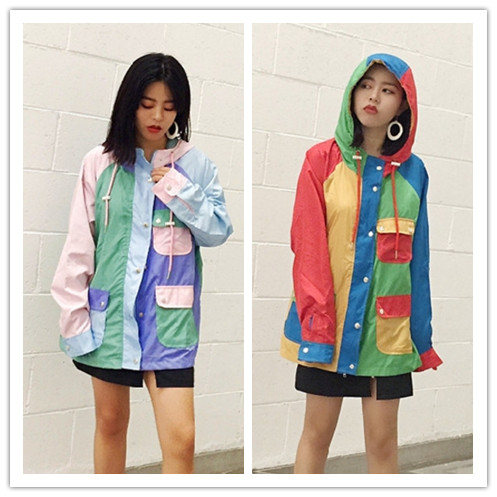 J1 Autumn and winter hooded lovers coat jacket Korea influx of people splash hit color Harajuku