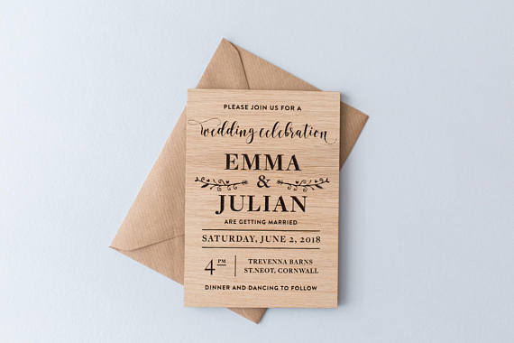 Rustic Wedding Invitation Wooden