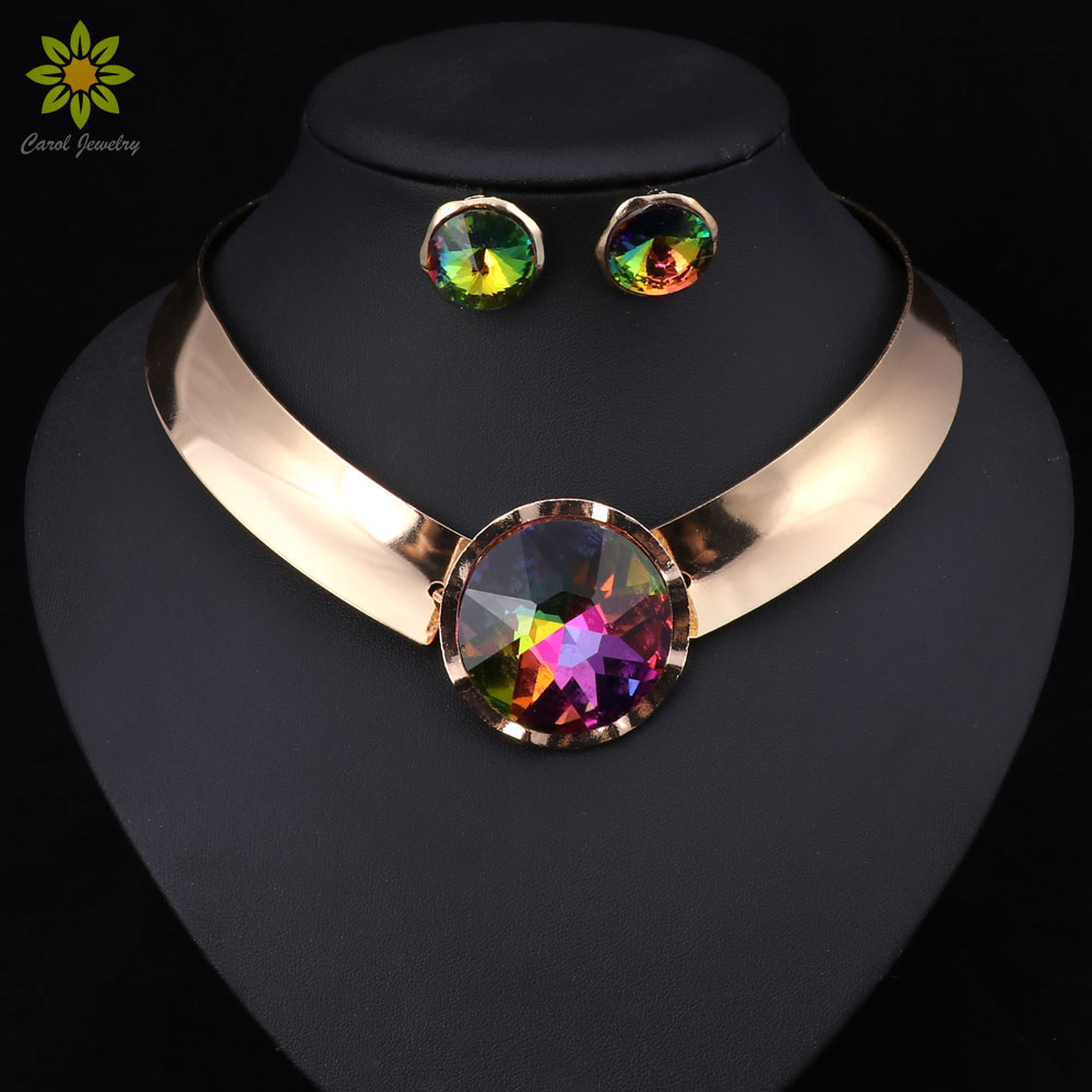 6Color Women Jewelry Sets Trendy Necklace Earrings Statement Necklace For Party Wedding Fashion 2017 Direct Selling(China)