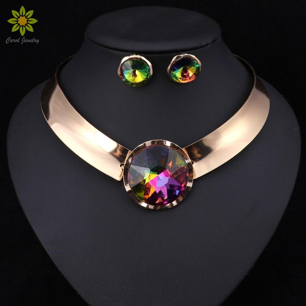 6 Farbe Frauen Schmuck Sets Trendy Halskette Ohrringe Aussage Halskette Für Party Hochzeit 2017 Direct Selling