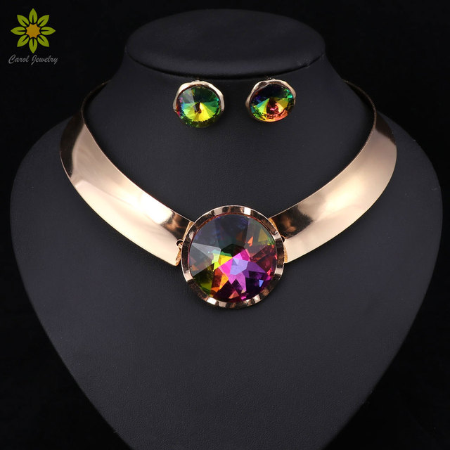 6Color Women Jewelry Sets Trendy Necklace Earrings Statement Necklace For Party