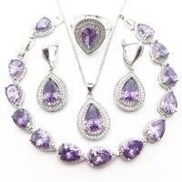 Purple Australia Crystal Water Drop Silver 925 Jewelry Sets For Women Bracelet Earrings Necklace Pendant Rings