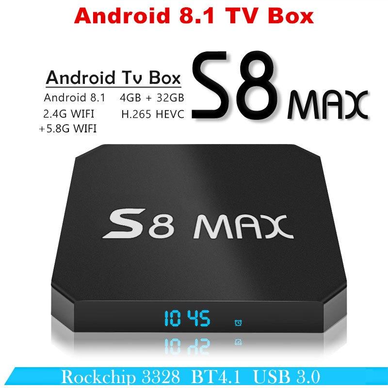 Tv box android 8.1 S8 MAX ott tv box 4 gb ram 32 gb rom Rockchip RK3328 USB 3.0 HDR media Player 2.4g & 5g WIFI BT 4.1 set top box