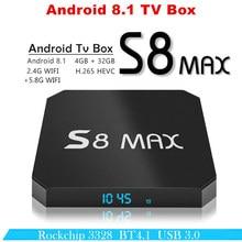 Приставка для ТВ android 8,1 S8 MAX Отт tv box 4 Гб оперативной памяти 32 Гб ПЗУ Rockchip RK3328 USB 3,0 HDR Media Player 2,4 г и 5 г WI-FI BT 4,1 компл. top box