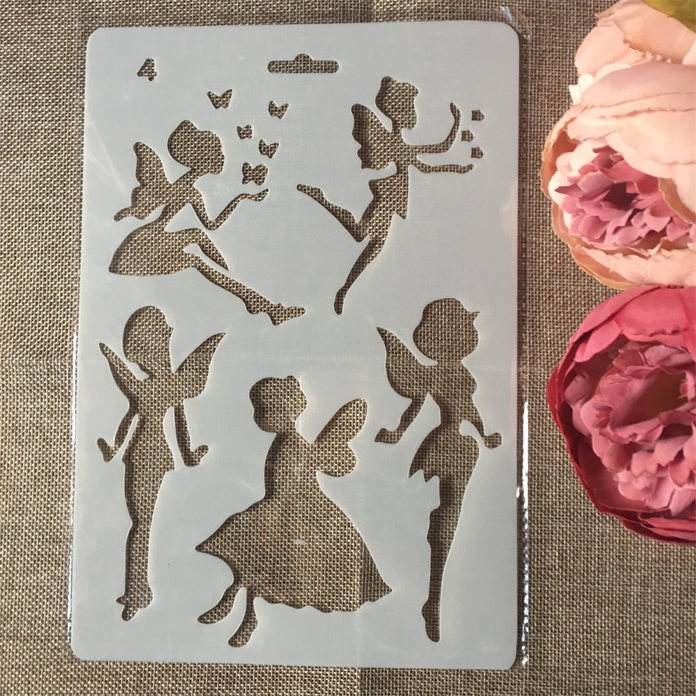 1Pcs 27.5X19cm Fairy Girl Angel DIY Craft Layering Stencils Painting Scrapbooking Stamping Embossing Album Paper Card Template