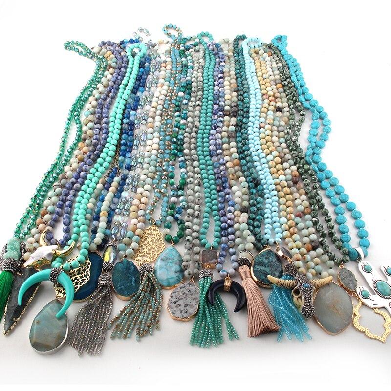 Hurtownie moda 20 pc Mix kolor niebieski zielony naszyjnik Handmade kobiety biżuteria w Naszyjnik z wisiorkiem od Biżuteria i akcesoria na  Grupa 1