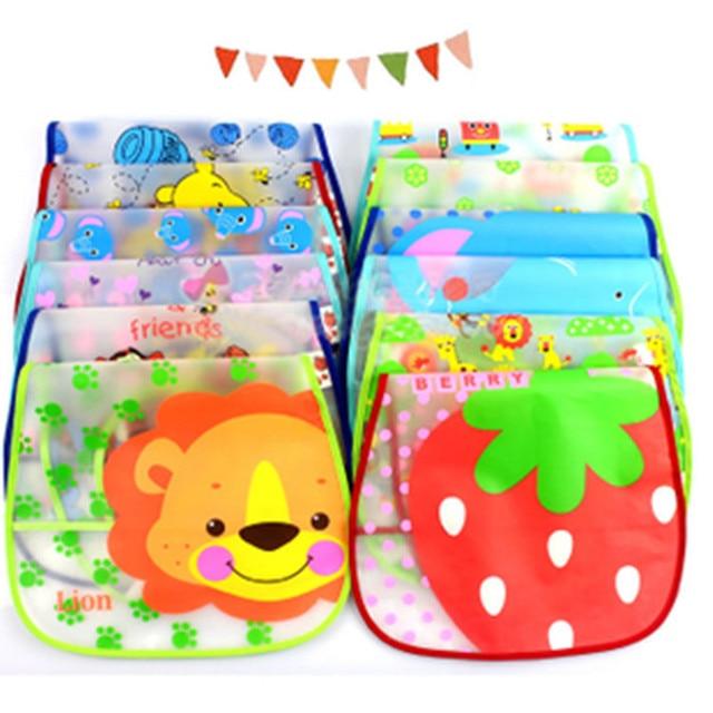 8 pcs/lot pecial translucent bib pocket bib children turn soft bibs waterproof bibs 1 tp 3 year EVAatrk0011