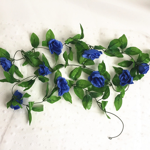 Colorful Artificial Silk Rose Vine with Leaves