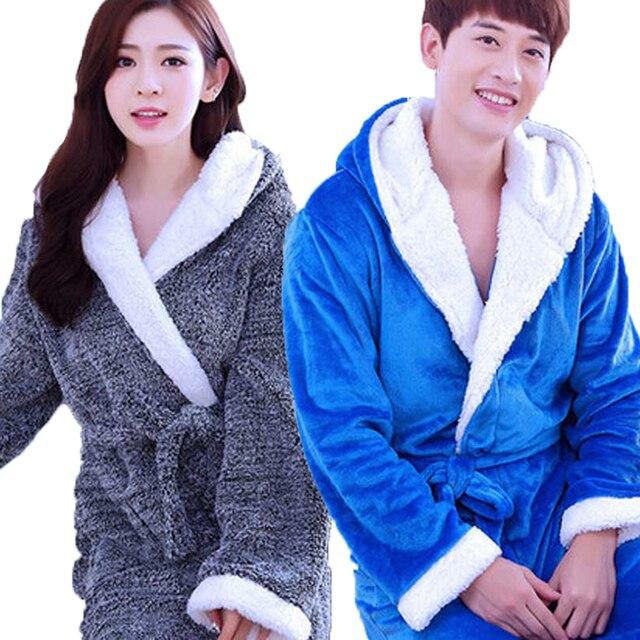 Unisex Flannel Hooded Robes For Women Warm Bathrobe Coral Fleece ...