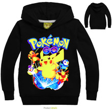 DLF 2-16 Pokemon Hoodie Kids Hooded Sweatshirts Childres Long Sleeve Pullover Tops Toddler Boy Hoodies Baby Girls Spring Clothes