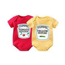 Culbutomind Yummz Tomato Ketchup Yellow Mustard Red and Yellow Bodysuit Baby Boy Twins Baby Clothes Twins