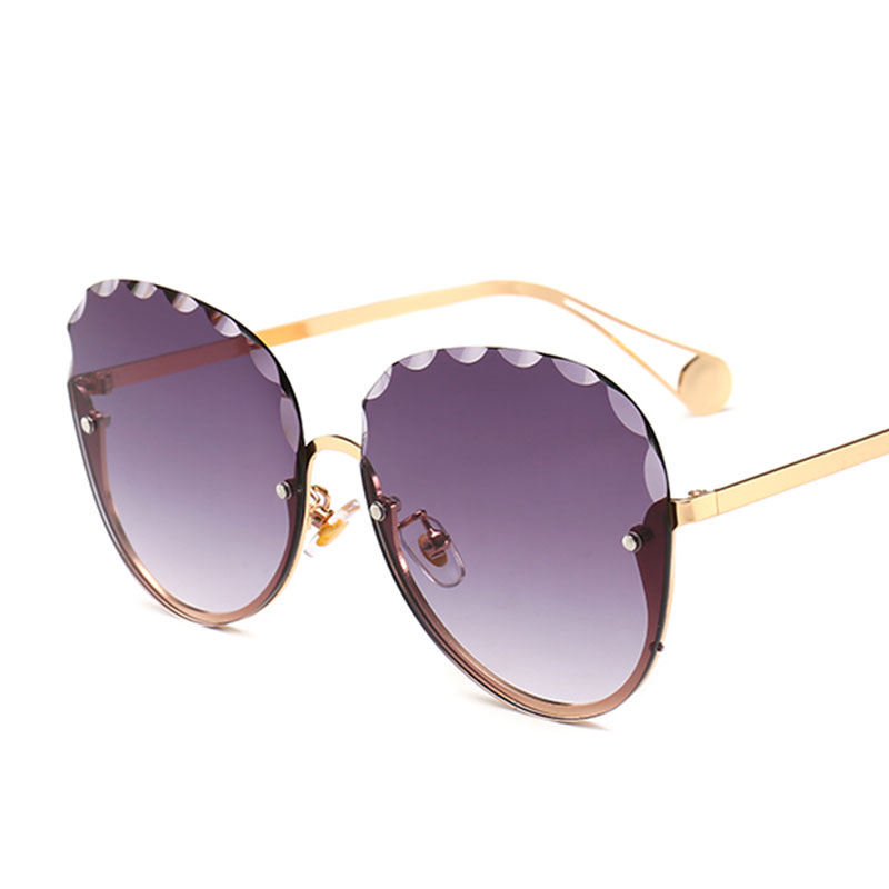 New Womens Sunglasses Rimless DIAMOND CUT Fashion Eyewear Purple Shades