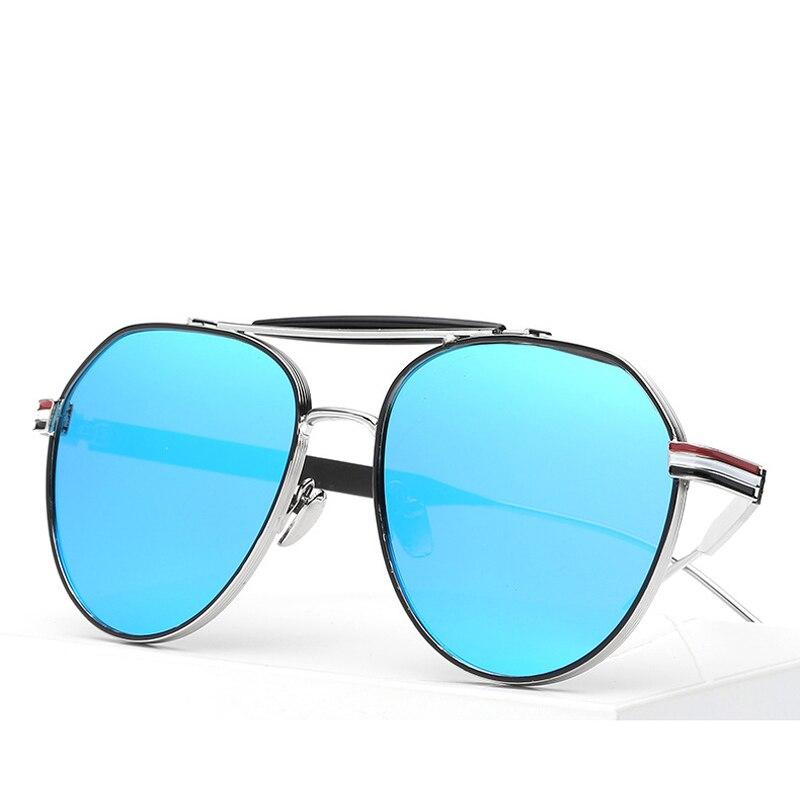 Tricolor Stripes Pilot Sunglasses For Women Circular Wire frame ...