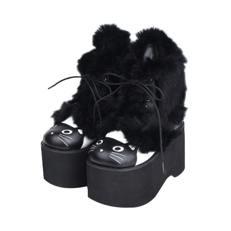 Empreinte Chaussures 47 Bottes D'hiver 33 Hauts Fille Visage Chat Femme Cheville Angélique Lady Noir Talons De Mori Lolita Femmes Princesse Main 6XxqxaYd