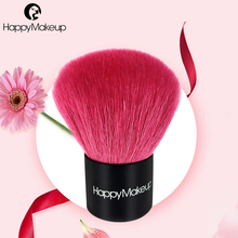 Happy Makeup Pro High Quality Pink Color Makeup Cosmetic Blusher Brushes Goat Hair Blush Kabuki Brush with Black PU Zip Pouch