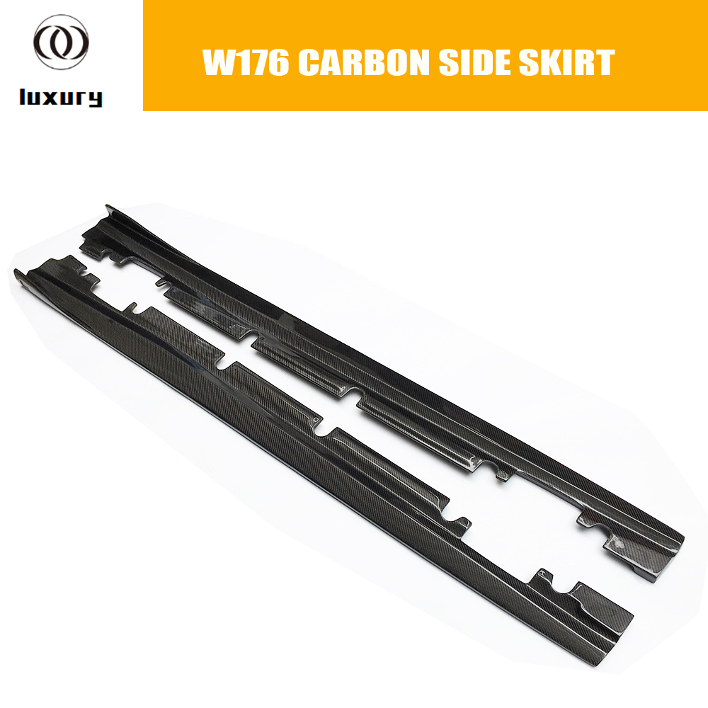 W176 Carbon Fiber Side Bumper Extension Skirt For Benz W176 A-class With AMG Package A180 A200 A260 A45 2013 - 2018