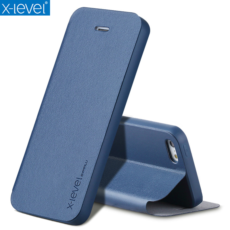 X-Level Book Läderfodral för iPhone SE 5 5S Ultra Thin Business Leather Funda Cover Case
