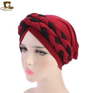Image 4 - 여성 브레이드 모자 이슬람기도 터번 모자 이슬람 터번 포함 모자 여성 더블 컬러 히 자브 브레이드 캡 헤어 액세서리