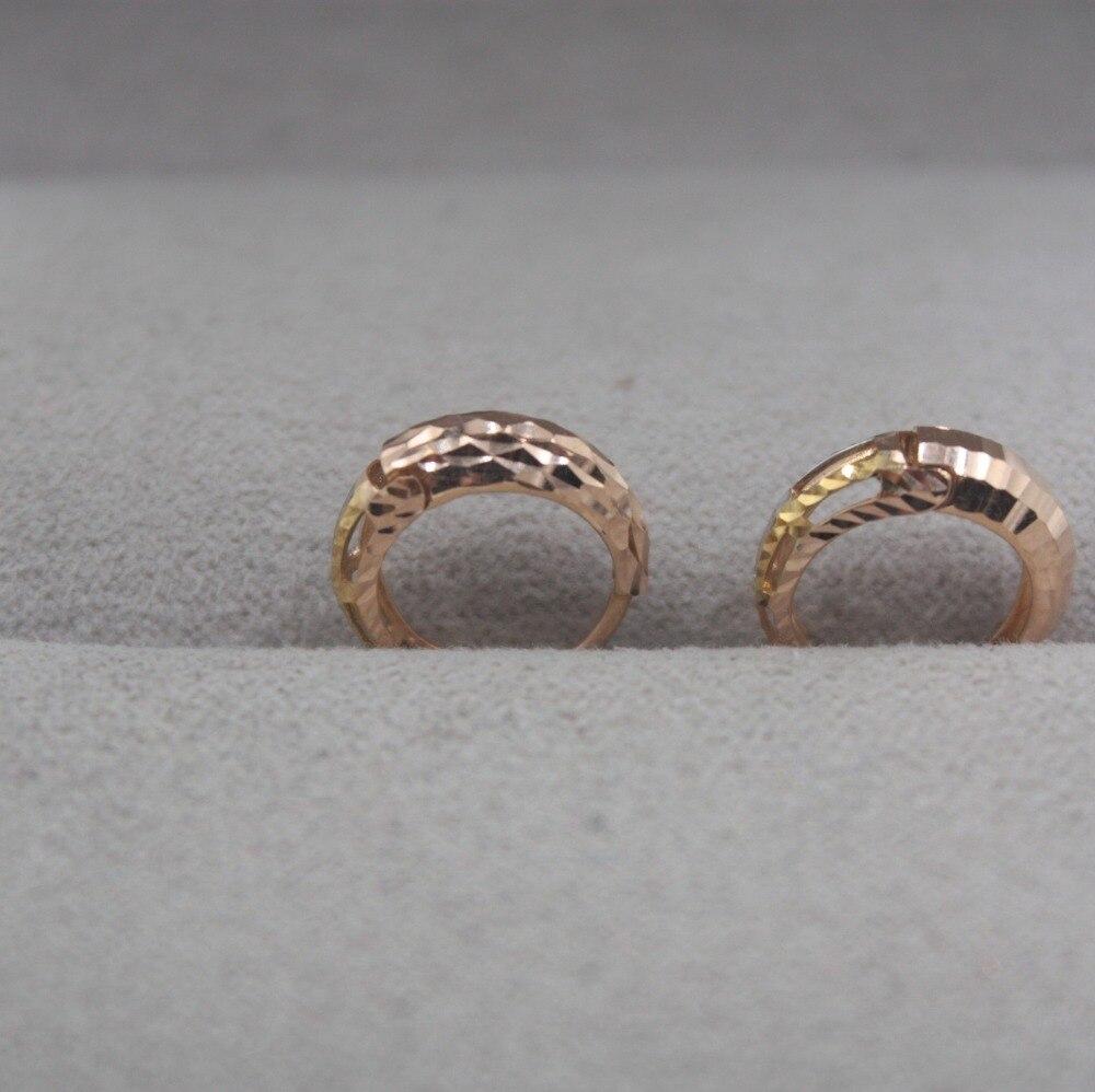 Boucles d'oreilles en or pur 18 K multi-tons personnalisé cadeau sculpté boucles d'oreilles mignonnes 1.5-1.8g bijoux de tous les jours mère meilleur cadeau