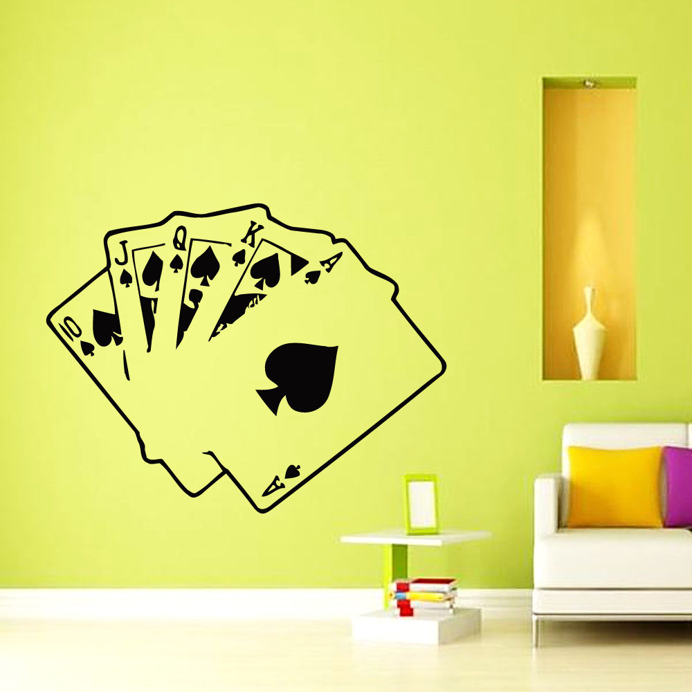 decals cards poker casino decal vinyl sticker home decor bedroom free shipping wall decoration modern design - Wall Designs Stickers
