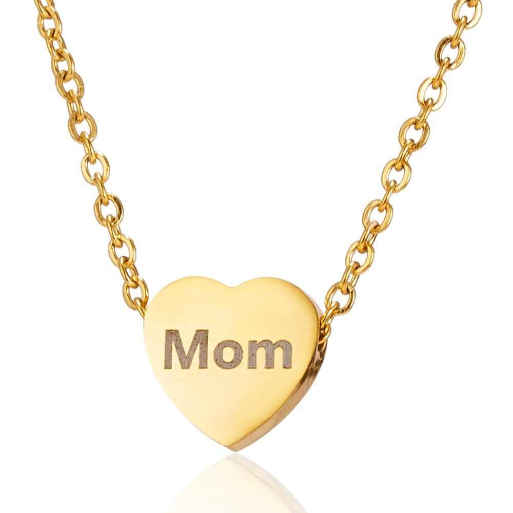 Индивидуальные Имя Цепочки и ожерелья s Выгравированные буквы дату рождения Нержавеющаясталь цепь с подвеской в виде сердца ожерелье, персонализированные украшения для Для женщин