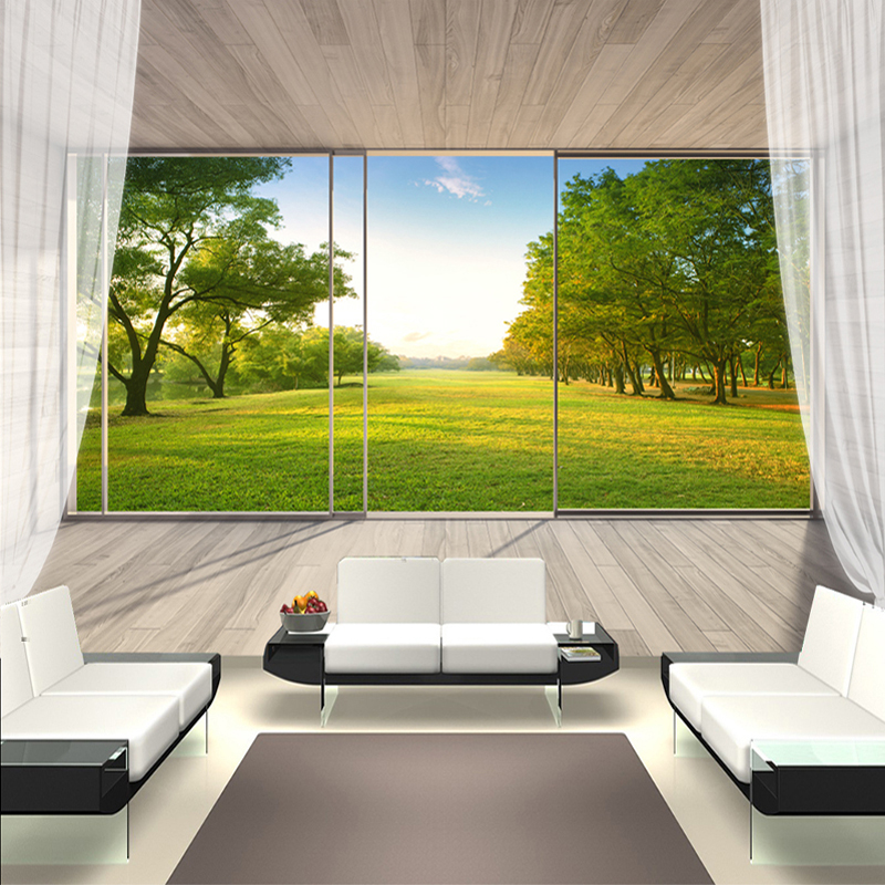 Custom Wall Mural Non-woven Wallpaper 3D Space Extension Balcony Window Outdoor Forest Landscape Wall Painting Murales De Pared non timber forest products enterprise development