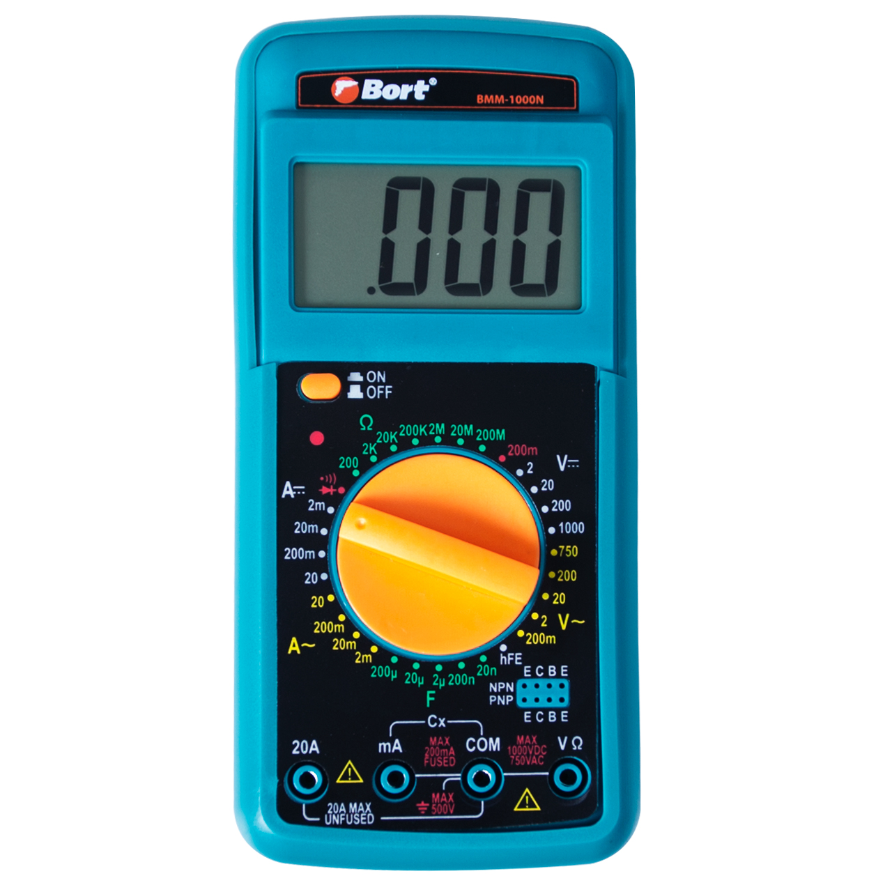 Multitester Bort BMM-1000N (measurement DC to 1000 V, AC current, resistance, case with retractable stand and rubber case, test leads battery included) mastech ms2108a professional 4 000 points ac current dc clamp meter digital multimeter ohm resistance backlight